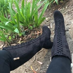 Tall lace up boot